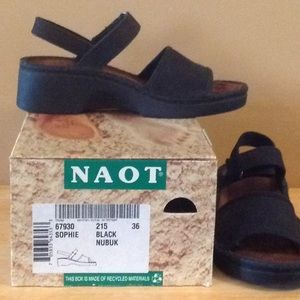 Black Naot Nubuck Sandals